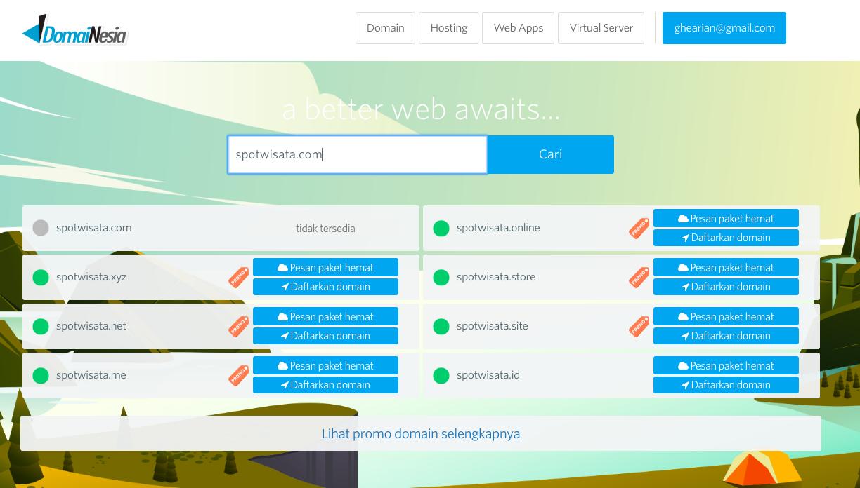 Beli Paket Domain dan Hosting di Domainesia