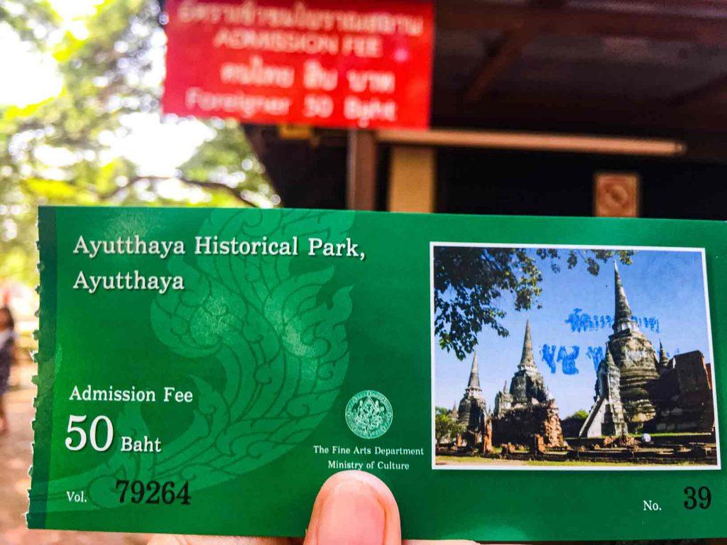 Ayutthaya Historical Park Admission Fee