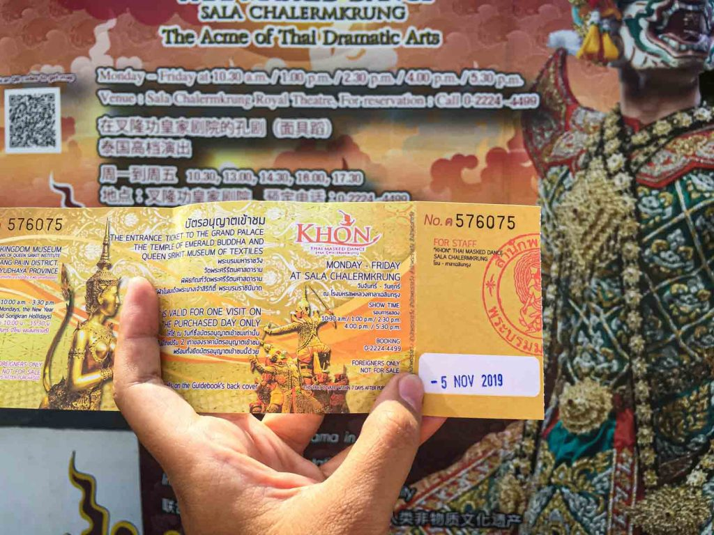 Tiket nonton pertunjukan Thai Mask Dance di Grand Palace Bangkok