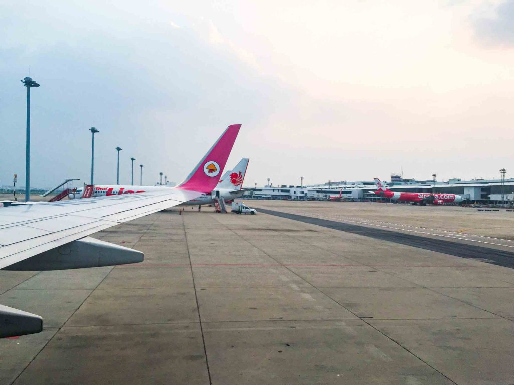 Nok Air landing at Don Mueang Bangkok Airport